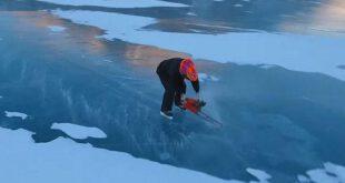 اسکیت بازی روی یخ با کمک اره برقی! +تصاویر