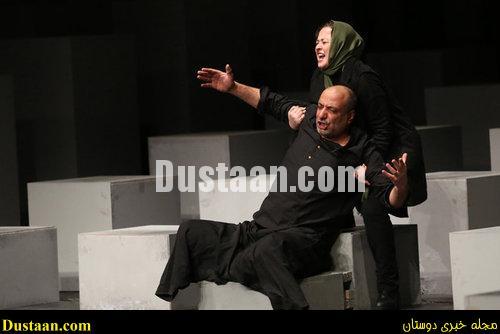 www.dustaan.com گریم خاص امیر جعفری و مهراوه شریفی نیا در نمایش ترن +تصاویر