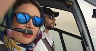 سلفی خانم بازیگر در کابین خلبان +عکس
