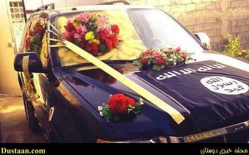 تصاویر زیر بعضی از ماشین عروس هایی که برای تزیین آن از پرچم داعش استفاده شده نشان می دهد.