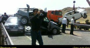تصادف شدید سه خودروی پژو , سمند و پیکان در جاده اهر +تصاویر