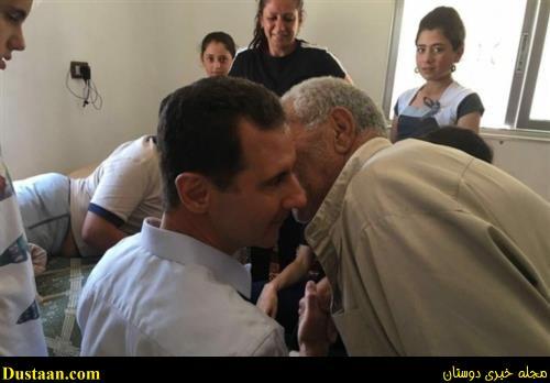 بشار اسد و همسرش در حال عیادت از مجروحان جنگی +تصاویر