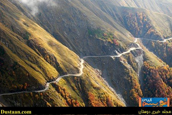 www.dustaan.com جاده ای فوق العاده زیبا و خطرناک در کشور گرجستان +تصاویر
