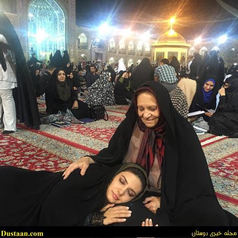 www.dustaan.com خوابیدن لیندا کیانی در حرم امام رضا (ع)!  +عکس