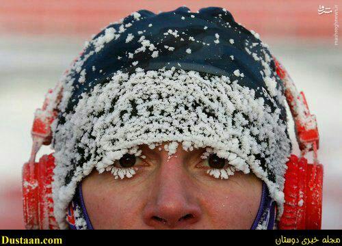 www.dustaan.com عکس: این هم از عاقبت دویدن در دمای منفی ۲۵ درجه!
