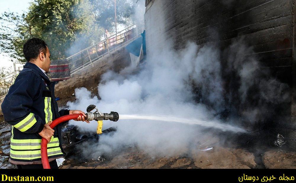 تصاویر: آتش گرفتن چادر کارتن خواب ها در اهواز