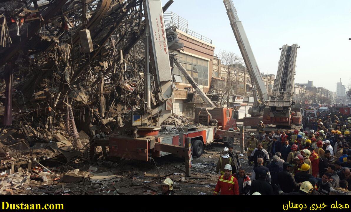 تصاویری از لحظه فروریختن ساختمان پلاسکو