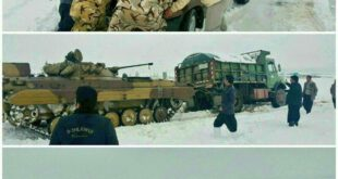 تصاویر : امدادرسانی به مردم گرفتار در برف کرمانشاه با تانک!
