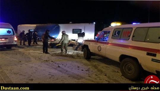 www.dustaan.com واژگونی اتوبوس در محور چناران به قوچان، ۴ کشته برجای گذاشت +عکس