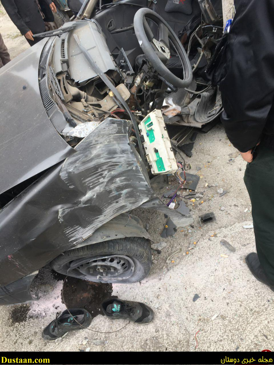 www.dustaan.com برخورد مرگبار پراید با تیر چراغ برق +عکس