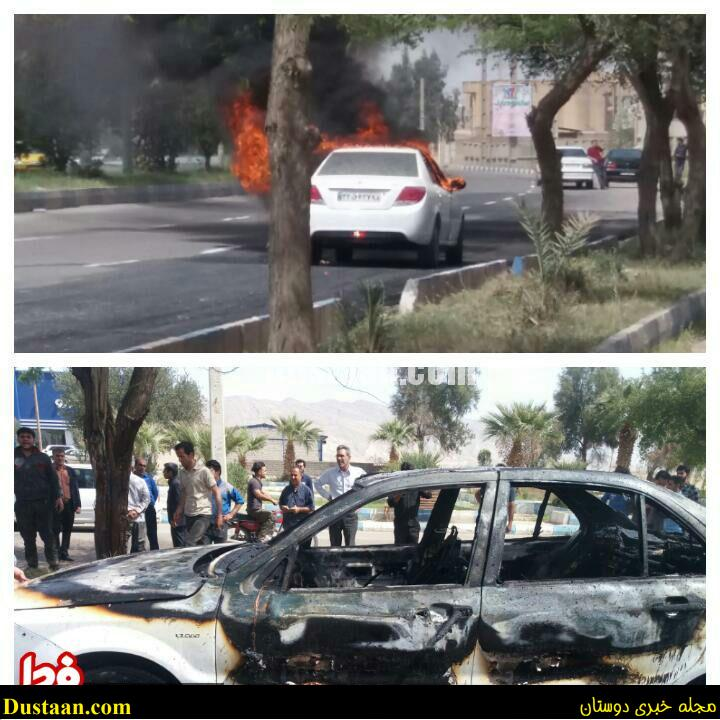 www.dustaan.com عکس: آتش زدن عمدی خودروی دنا مقابل نمایندگی به نشانه اعتراض