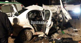 مچاله شدن خودروی تیبا در پی تصادف شدید با اتوبوس +تصاویر