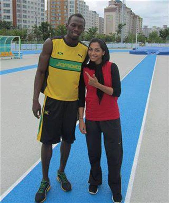 www.dustaan.com عکسی جنجالی از اوسین بولت در کنار سریعترین دونده زن ایران
