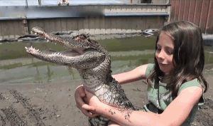 www.dustaan.com تمساح بیچاره ای که گیر این دختر نترس افتاده است!/متحرک