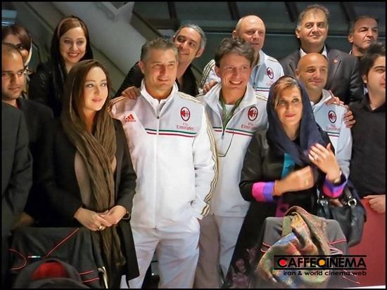 www.dustaan.com عکس یادگاری فاطمه معتمدآریا، نیکی کریمی و مازیار فلاحی با ستارگان تیم میلان