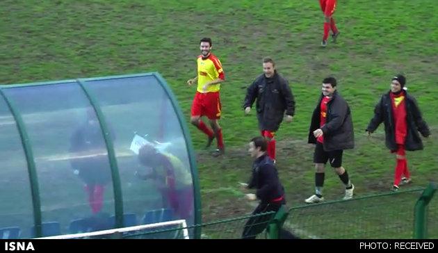 www.dustaan.com بیهوش شدن بازیکن به خاطر یک شادی احمقانه بعد از گل!