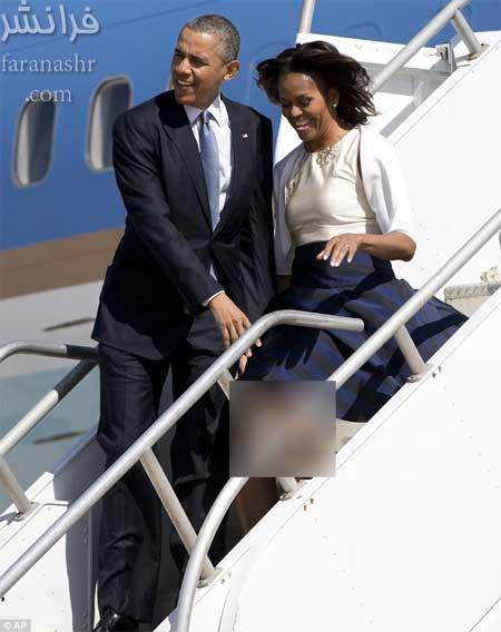 وقتی باد شدید دامن همسر رئیس جمهور را بالا می زند! +تصاویر