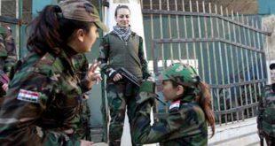 عکسی جالب از تک تیر اندازهای زن ارتش سوریه