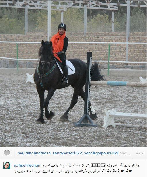 www.dustaan.com عکس/ نفیسه روشن در حال اسب سواری