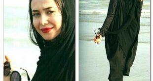 دو عکس متفاوت از الناز حبیبی در ساحل خلیج فارس
