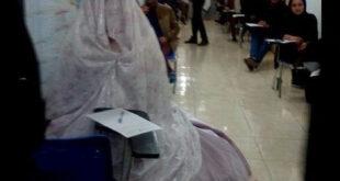عکس/ حضور در جلسه امتحان با لباس عروس!