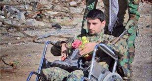 نبرد جانانه این رزمنده با داعش با وجود قطع شدن هر دو پا +تصاویر