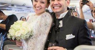 نخستین مراسم خواستگاری و ازدواج داخل هواپیما+تصاویر