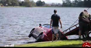 تصاویر: رانندگی باورنکردنی زن به سقوط در دریاچه ختم شد