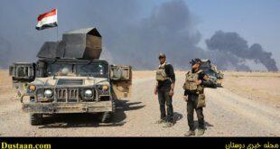 به آتش کشیدن مخازن نفت سیاه توسط داعش در منطقه الحمدانیه در اطراف موصل