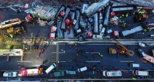 تصادف زنجیرهای خودرو در چین