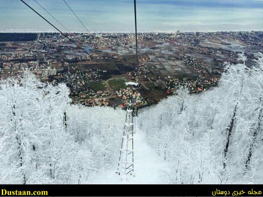 www.dustaan.com تصویری فوق العاده از تله کابین نمک آبرود در برف و یخبندان