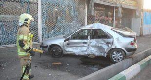 تصاویر: تصادف شدید دو خودروی سواری در بزرگراه سعیدی