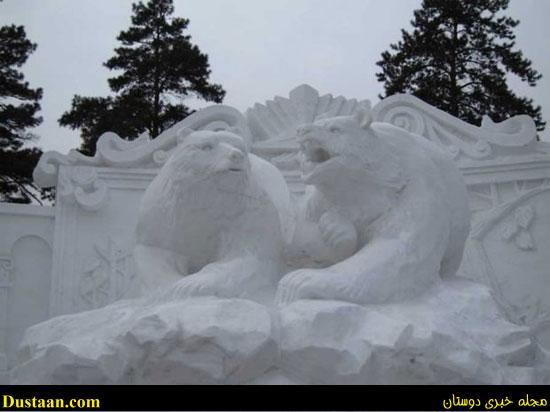 تصاویر: ساخت مجسمه هایی زیبا از برف