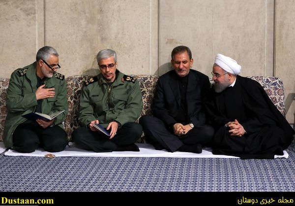 www.dustaan.com خوش و بش رئیس جمهور با سردار سلیمانی