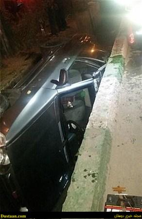 تصاویر: سقوط باورنکردنی پراید به داخل جوی آب!