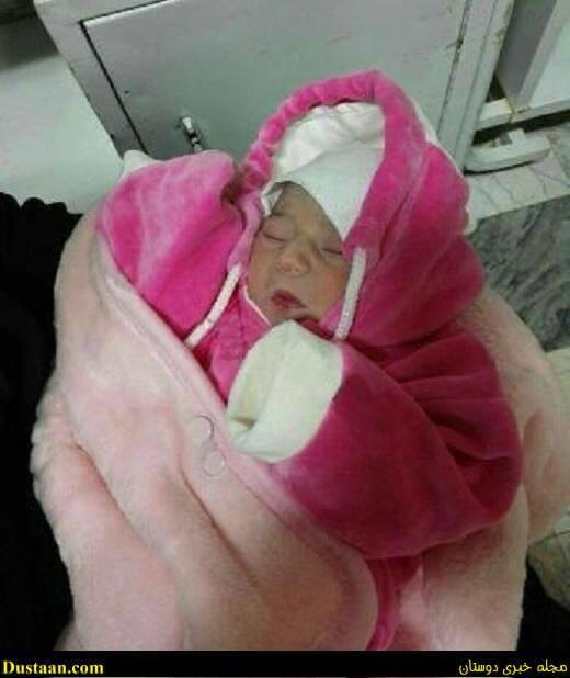 عکس: کشف نوزاد یک روزه از داخل سطل زباله در شهر خمین