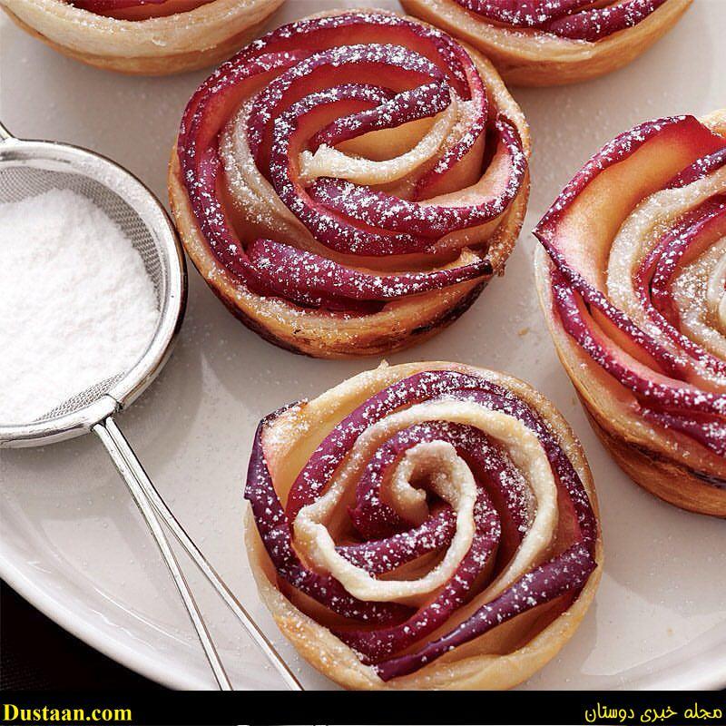 www.dustaan.com طرز تهیه شیرینی خوشمزه و متفاوت به شکل گل رز +عکس