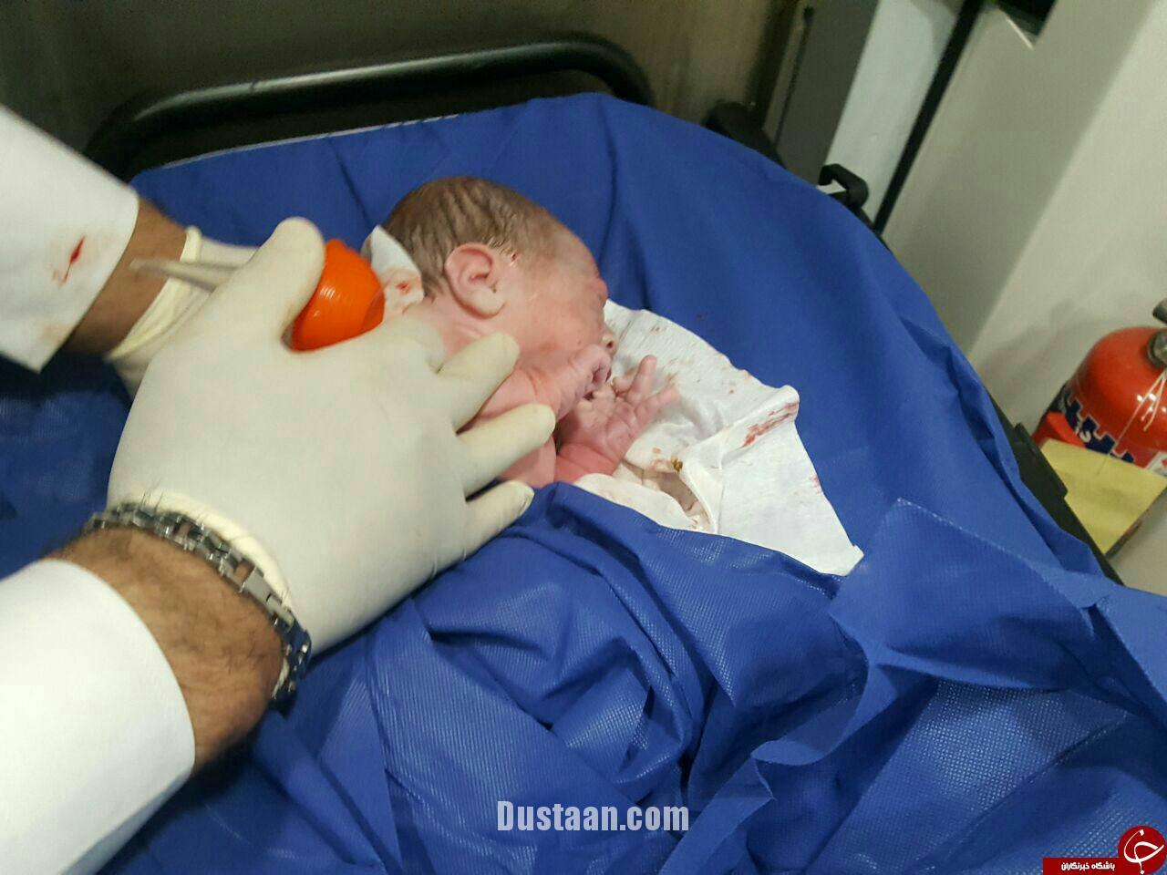 www.dustaan.com تصاویری از تولد نوزاد عجول درون خودروی آمبولانس!