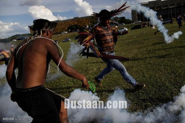 www.dustaan.com تصاویری از تظاهرات سرخ پوستان در برزیل