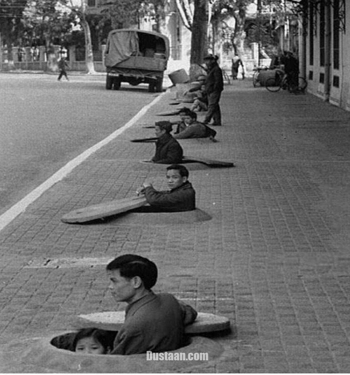 www.dustaan.com تصویری از نحوه پناه گرفتن مردم ویتنام در زمان حمله آمریکا