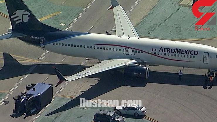 www.dustaan.com برخورد شدید هواپیما با یک کامیون در باند فرودگاه