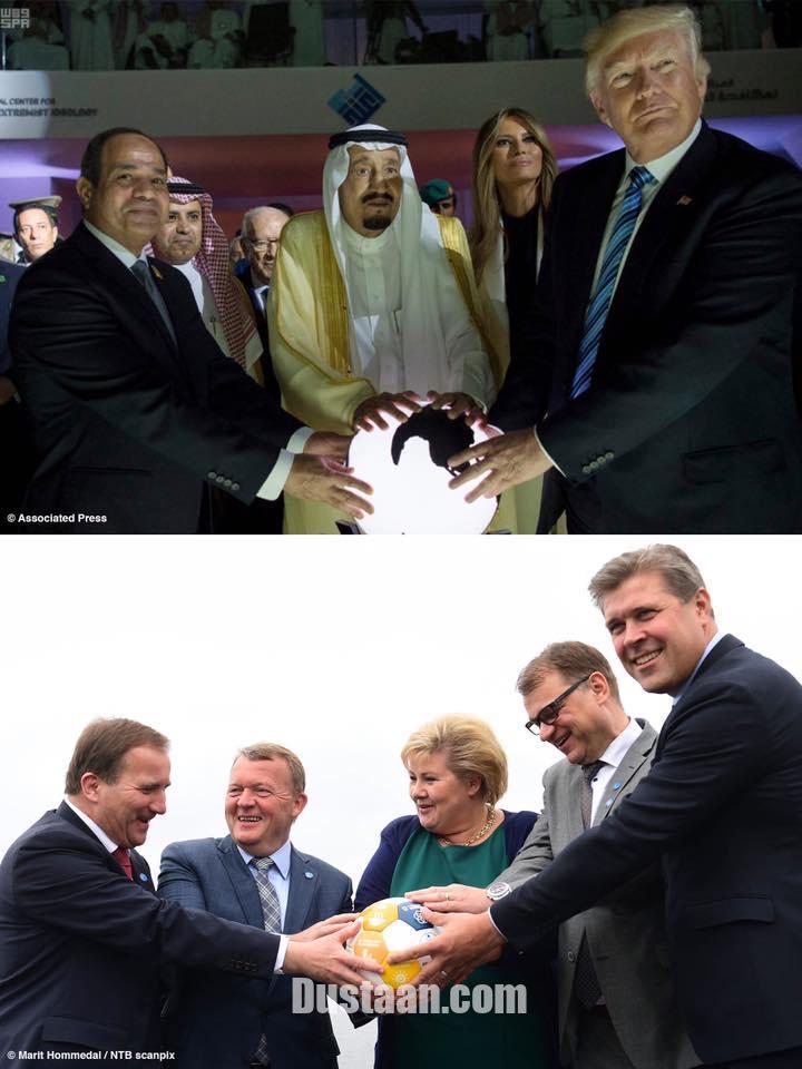 www.dustaan.com تمسخر ترامپ و ملک سلمان توسط رهبران اروپا! +عکس