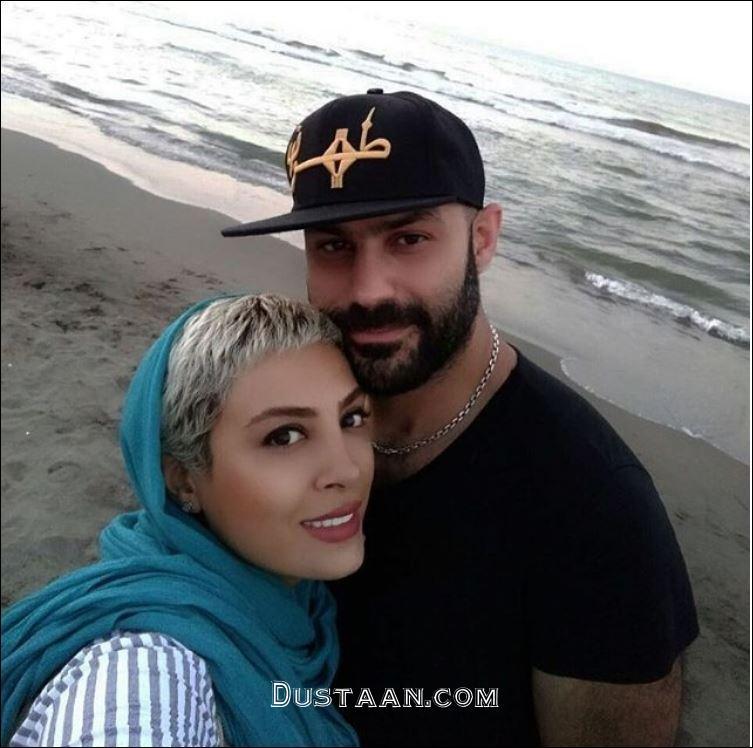 www.dustaan.com عکس احساسی حدیثه تهرانی و همسرش کیان مقدم، کنار ساحل
