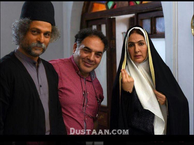 www.dustaan.com گریم دیدنی فاطمه گودرزی و حسین یاری در فیلم جدیدشان +عکس