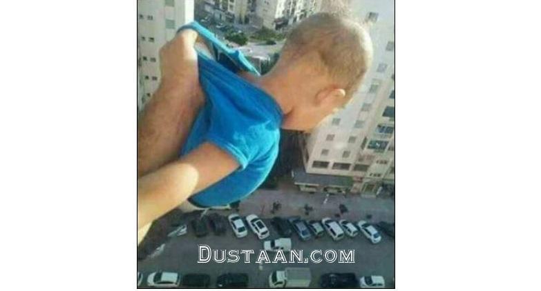 www.dustaan.com عکس: آویزان کردن بچه برای گرفتن لایک!