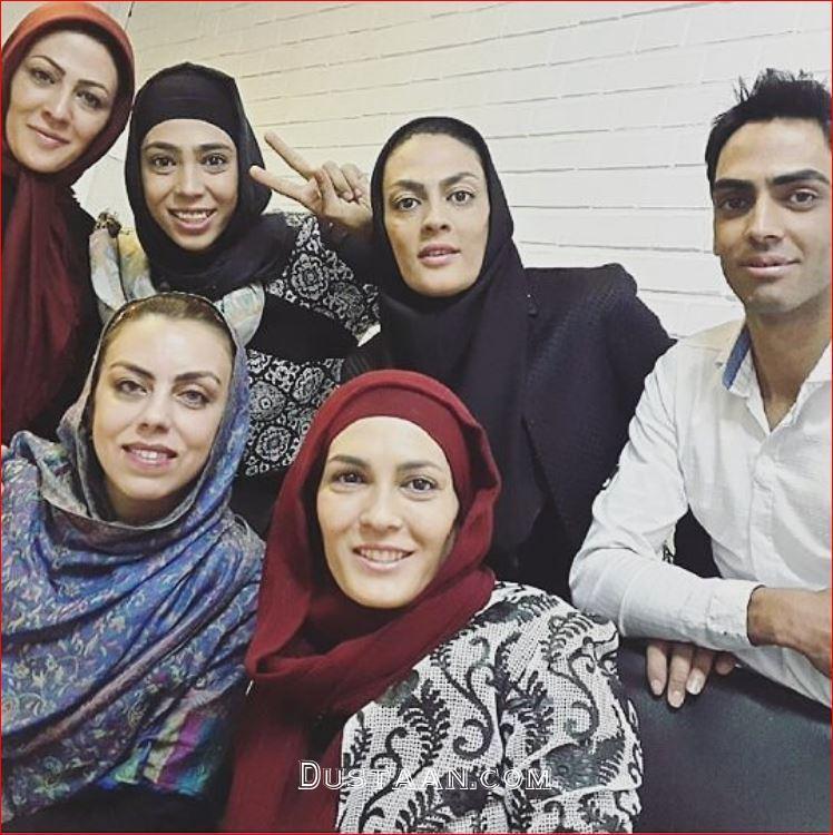 www.dustaan.com خواهران منصوریان و نرگس کلباسی در پشت صحنه ماه عسل
