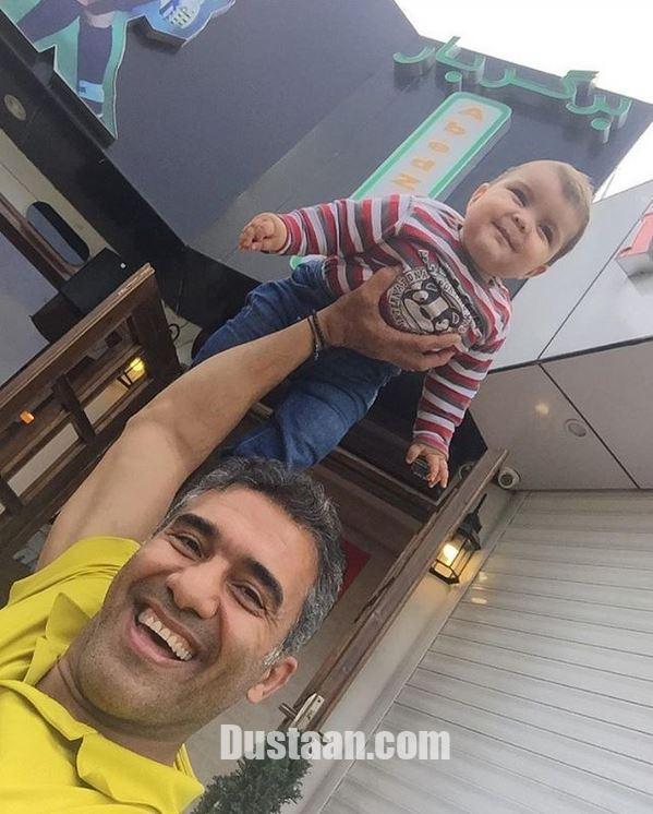 www.dustaan.com بچه داری به سبک احمدرضا عابدزاده! +عکس
