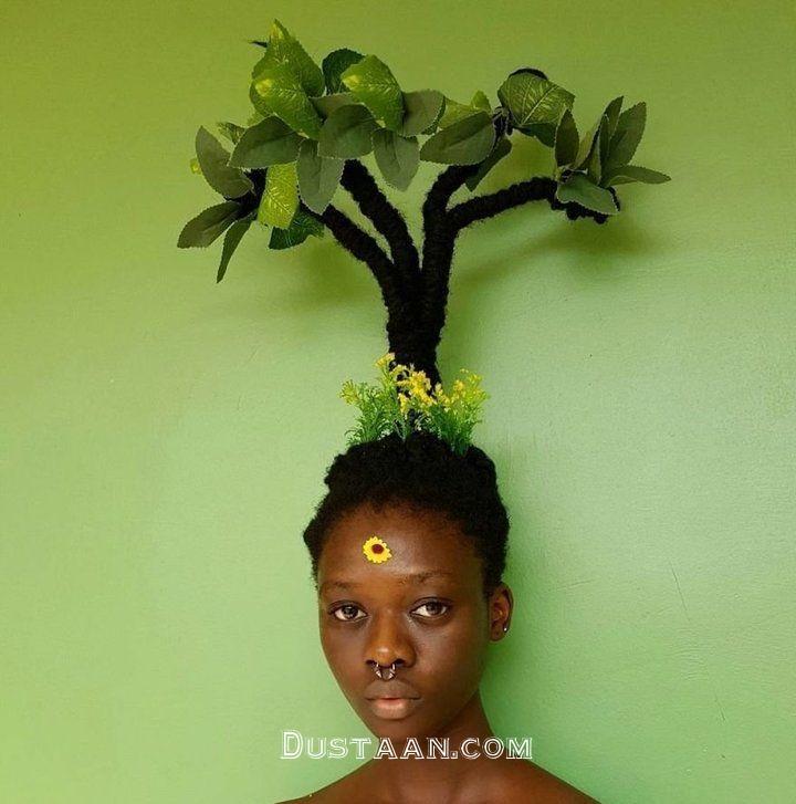 www.dustaan.com دختری که از موهای خود مجسمه می سازد! +تصاویر
