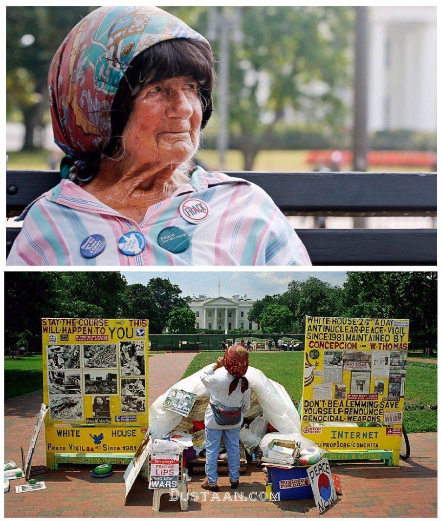 www.dustaan.com زنی که 35 سال مقابل کاخ سفید تحصن و اعتصاب کرد! +عکس
