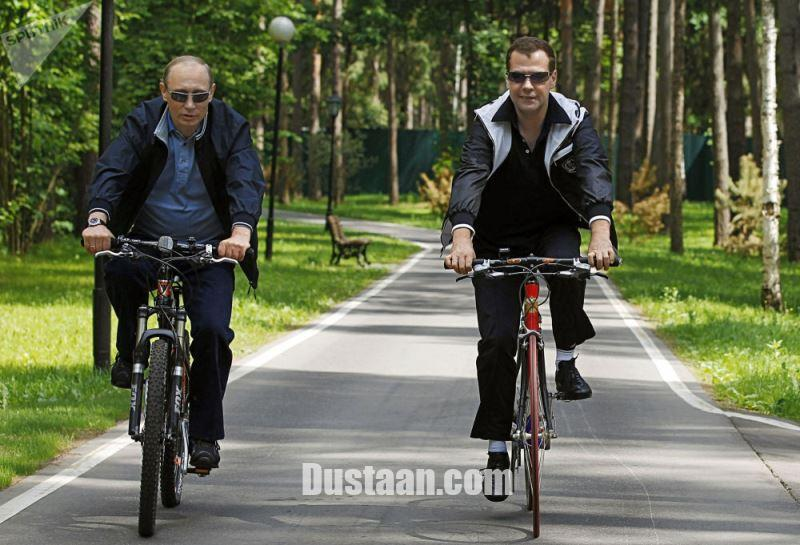 www.dustaan.com عکس: رئیس جمهور و نخست وزیر در حال دوچرخه سواری!